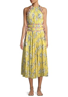 Rebecca Taylor Sleeveless Halter Pleated Dress w/ Contrast Ties