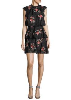 Rebecca Taylor Sleeveless Lace Dress W/ Embroidery