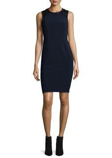 Rebecca Taylor Sleeveless Lace-Trim Shift Dress