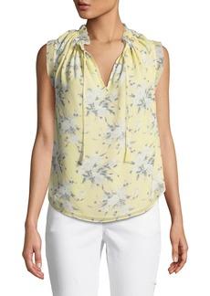 Rebecca Taylor Sleeveless Lemon Rose-Print Silk Blouse