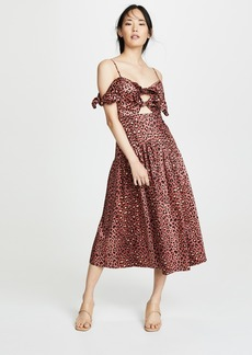 Rebecca Taylor Sleeveless Leopard Bow Dress