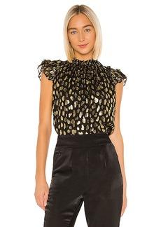Rebecca Taylor Sleeveless Leopard Metallic Top