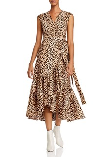 Rebecca Taylor Sleeveless Leopard-Print Wrap Dress