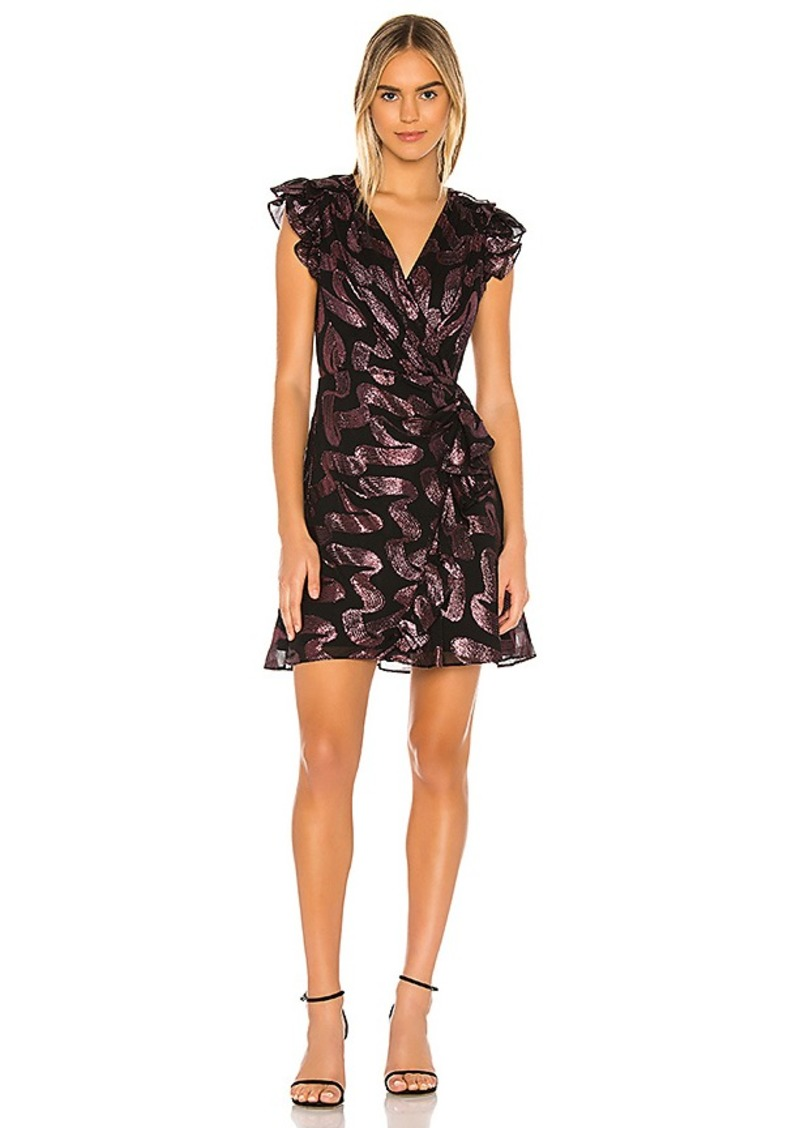 Rebecca Taylor Faux Wrap Sleeveless Lurex Jacquard Dress