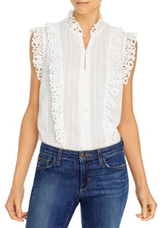 Rebecca Taylor Sleeveless Palm Embroidered Top