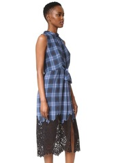 Rebecca Taylor Sleeveless Plaid Dress with Lace