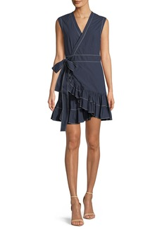 Rebecca Taylor Sleeveless Poplin Ruffle Wrap Dress