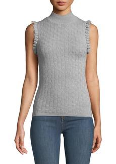 Rebecca Taylor Sleeveless Ruffle Merino Wool Turtleneck Sweater