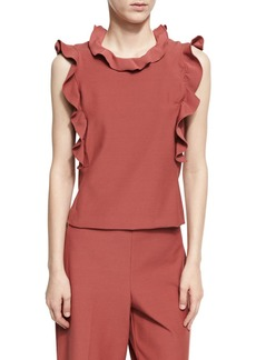 Rebecca Taylor Sleeveless Ruffle Suit Top