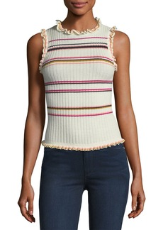 Rebecca Taylor Sleeveless Ruffled Striped Rib-Knit Tank