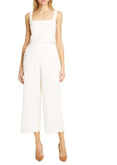 Rebecca Taylor Sleeveless Scalloped Jumpsuit