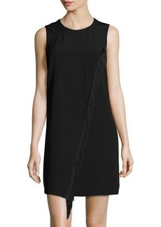 Rebecca Taylor Sleeveless Shift Dress with Asymmetric Fringe Trim