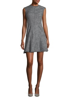 Rebecca Taylor Sleeveless Slub Twill Fit-and-Flare Short Dress