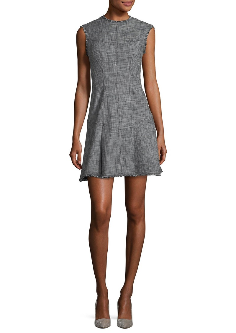 Rebecca Taylor Sleeveless Slub Twill Fit-and-Flare Short Dress
