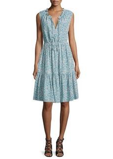 Rebecca Taylor Sleeveless Split-Neck Tiered Dress
