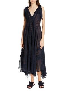 Rebecca Taylor Sleeveless Stripe Silk Maxi Dress
