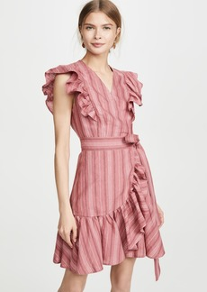 Rebecca Taylor Sleeveless Stripe Wrap Dress