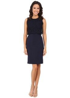 Rebecca Taylor Sleeveless Suiting Dress with Lace