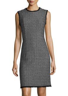 Rebecca Taylor Sleeveless Textured Tweed Sheath Short Dress