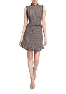 Rebecca Taylor Sleeveless Tweed High-Neck Short Dress