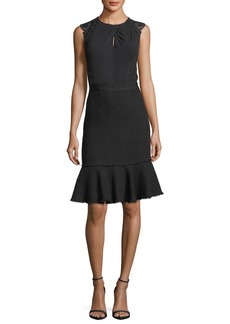 Rebecca Taylor Sleeveless Tweed Lace-Back Sheath Dress