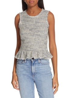 Rebecca Taylor Sleeveless Tweed Peplum Top