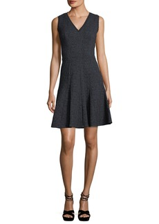 Rebecca Taylor Sleeveless V-Neck Fit-and-Flare Rose Jacquard Dress