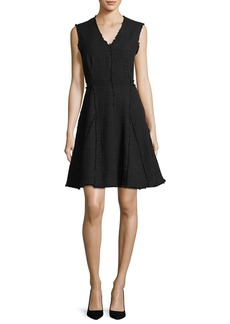 Rebecca Taylor Sleeveless V-Neck Fit-and-Flare Tweed Dress