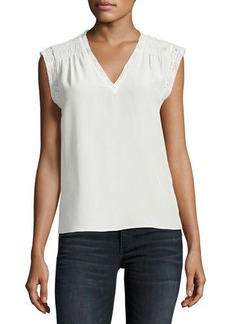 Rebecca Taylor Sleeveless V-Neck Silk Blouse with Lace
