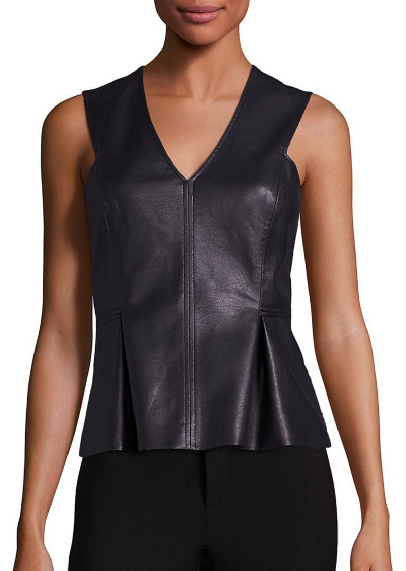 Rebecca Taylor Sleeveless Vegan Leather Top