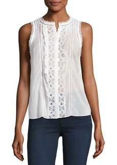 Rebecca Taylor Sleeveless Voile-Lace Top