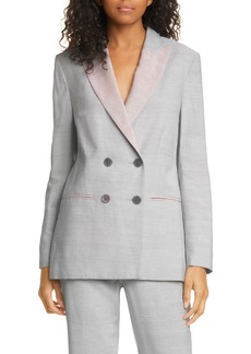 Rebecca Taylor Slub Linen Blend Double Breasted Jacket