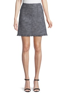 Rebecca Taylor Slub Suiting A-Line Skirt with Fringe Hem