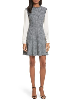 Rebecca Taylor Slub Suiting Fit & Flare Dress