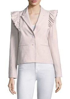 Rebecca Taylor Slub Suiting Ruffle Jacket
