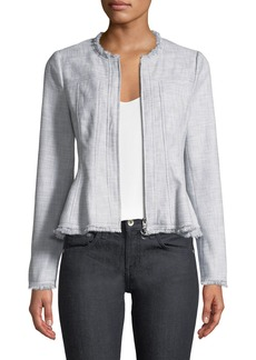 Rebecca Taylor Slub Suiting Zip-Front Jacket