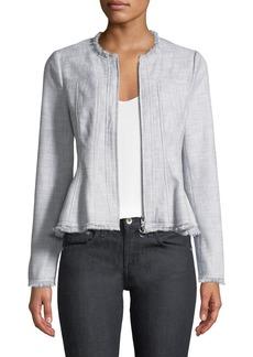 Rebecca Taylor Slub Suiting Zip-Front Jacket