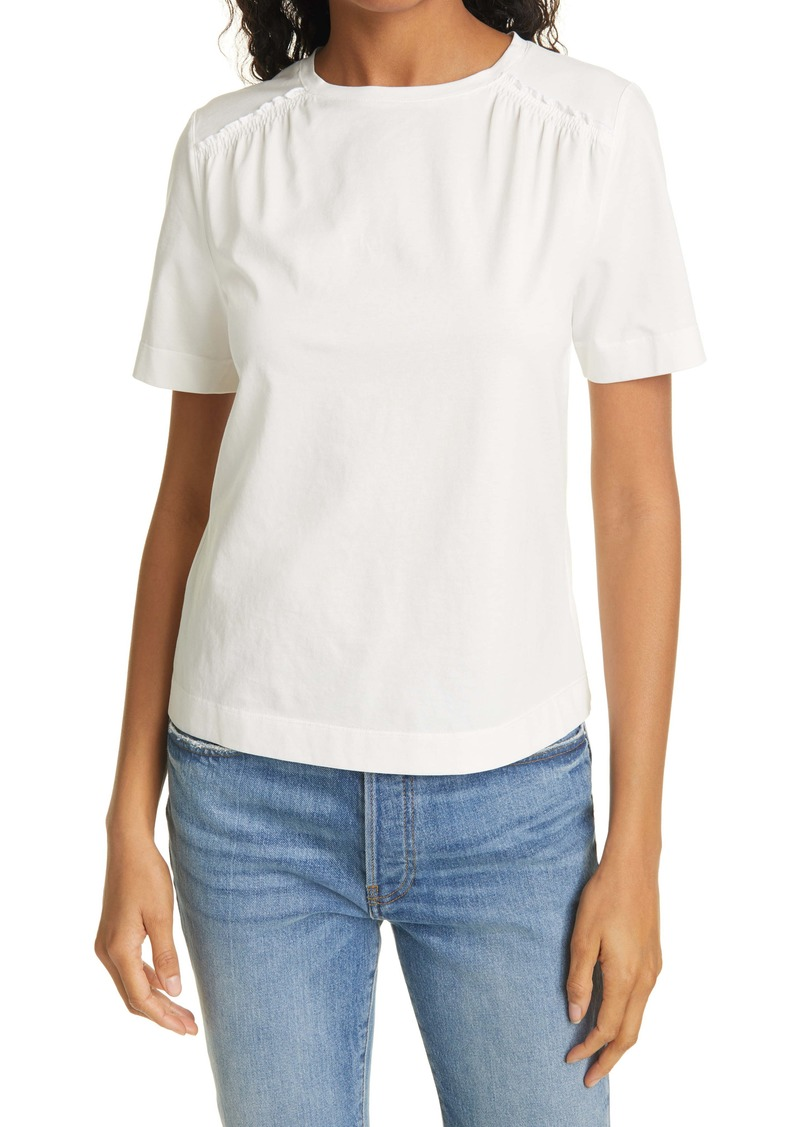 Rebecca Taylor Smock Detail Short Sleeve Pima Cotton Top