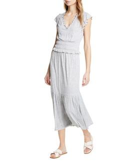 Rebecca Taylor Smock Waist Jersey Midi Dress