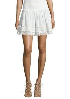 Rebecca Taylor Smocked Lace-Trim Gauze Flutter Shorts