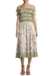 Rebecca Taylor Smocked Off-the-Shoulder Halter Floral-Print Maxi Dress