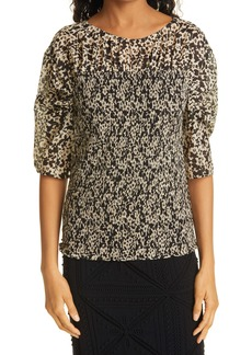 Rebecca Taylor Smocked Ruched Sleeve Cotton & Silk Blouse