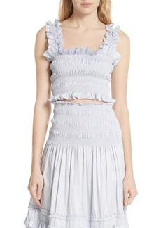 Rebecca Taylor Smocked Sleeveless Cotton Top
