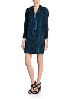 Rebecca Taylor Snake-Print Tie-Neck Long-Sleeve Silk Dress