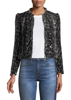 Rebecca Taylor Snake-Print Velvet Zip-Front Jacket