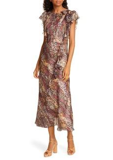 Rebecca Taylor Snakeskin Print Ruffle Midi Dress