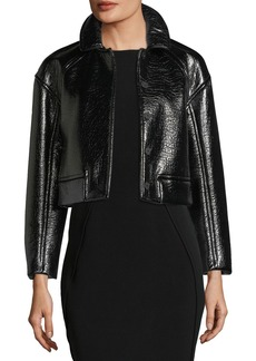 Rebecca Taylor Snap-Front Vegan-Leather Cropped Jacket