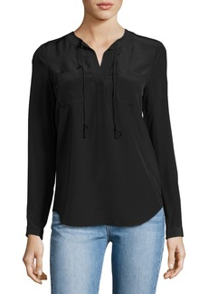 Rebecca Taylor Sofia Silk Split-Neck Blouse