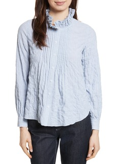 Rebecca Taylor Soft Stripe Quilted Shirt