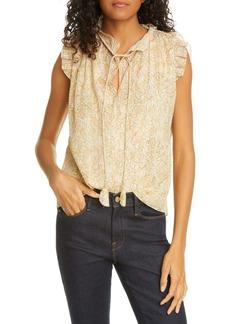 Rebecca Taylor Soleil Floral Metallic Detail Cotton & Silk Blouse